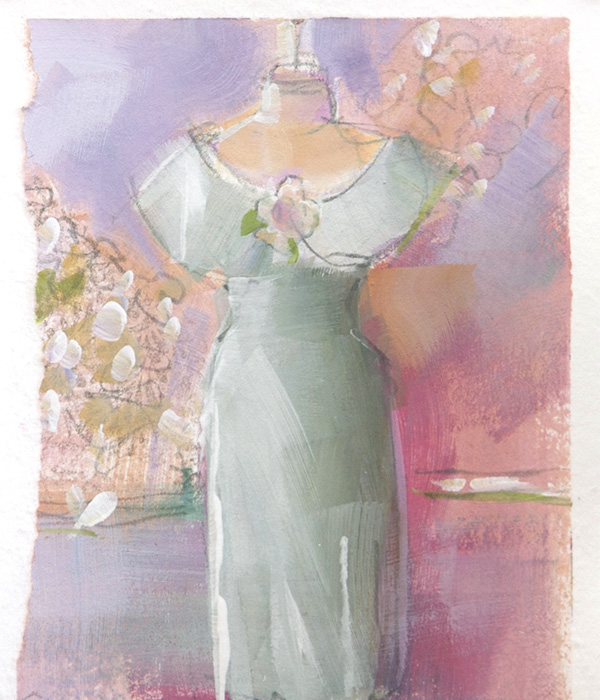 Patricia Canney Artist Sketch pastel rose collar dress