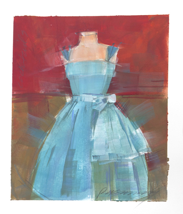 Patricia Canney Artist Sketch colorful cocktail dress