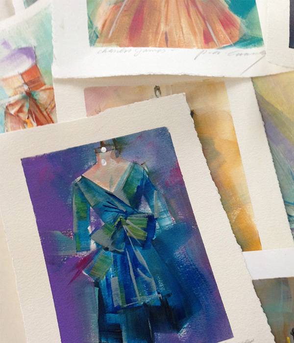Patricia Canney Artist Sketch teal and purple dress